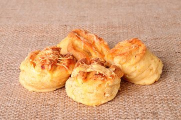 Homemade scones on sackcloth background