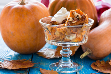 Pumpkin bread pudding  topped with whipped cream