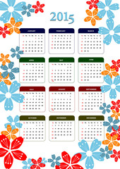 Calendar 2015 with dairy page image. Months. Vector illustration