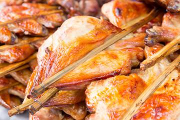 Grilled chicken breast skewers