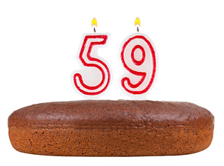 birthday cake with candles number 59 isolated