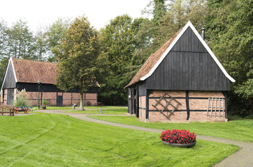 Barns in the Open Air Museum in Ootmarsum in The Netherlands.