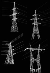 four electrical pylons and cables on black