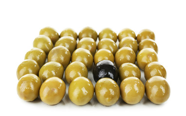 Individuality concept. Olive isolated on white