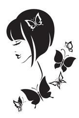 Black and white illustration of elegant woman.