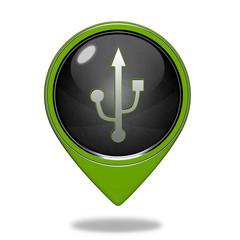 Usb pointer icon on white background