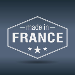 made in France hexagonal white vintage label