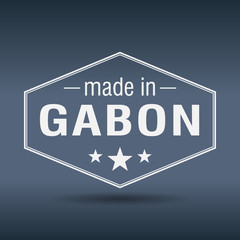 made in Gabon hexagonal white vintage label