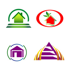 House and construction icons logo