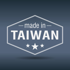 made in Taiwan hexagonal white vintage label