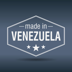 made in Venezuela hexagonal white vintage label