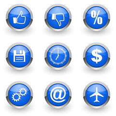 blue vector icons set