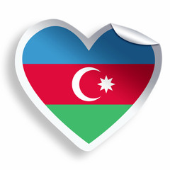 Heart sticker with flag of Azerbaijan isolated on white