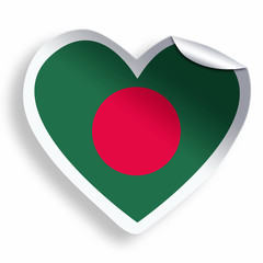 Heart sticker with flag of Bangladesh isolated on white
