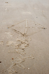drawings in the sand on beach