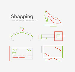 Outline design shopping icon set