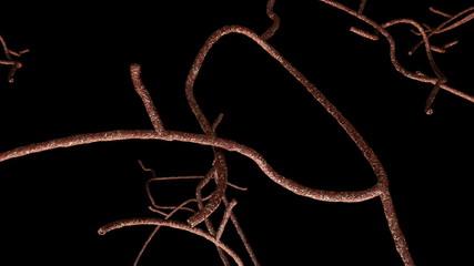 Microscopic Ebola Virus Behind Caution Quarantine Ribbon 3D