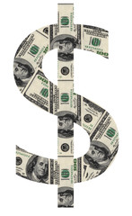 USD symbol shaped by USD paper currency