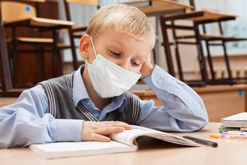 School children in medical face mask