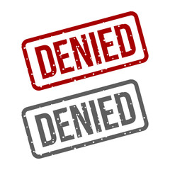 DENIED Red Stamp over a white background.