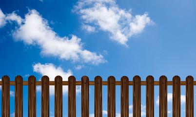 wooden fence(illustration) on a blue sky background