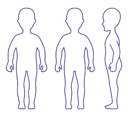 Full length front, side, back view standing girl outlined silhou