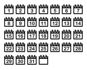 Simple Calendar Month Icons Set.
