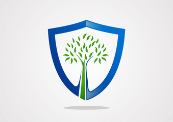 shield tree symbol protect vector logo template icon