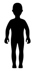 Full length front view standing girl silhouette