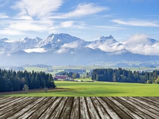 Mountain Allgau with wooden floor
