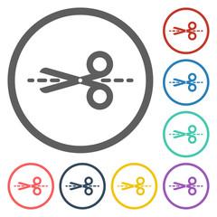 scissors and dash line icon