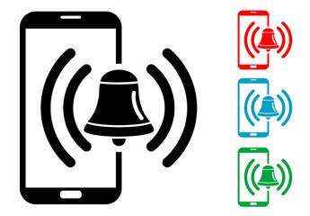 Pictograma alarma smartphone con varios colores