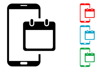 Pictograma calendario smartphone con varios colores
