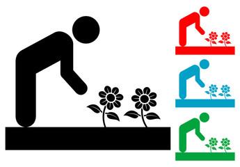 Pictograma jardinero con varios colores