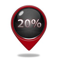 Twenty percent pointer icon on white background