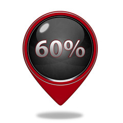 Sixty percent pointer icon on white background