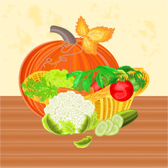 Basket with vegetables and pumpkin healthy nutrition vector