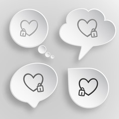 Closed heart. White flat vector buttons on gray background.