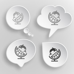 Globe and shamoo. White flat vector buttons on gray background.