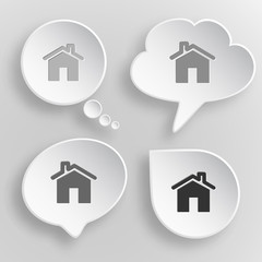 Home. White flat vector buttons on gray background.