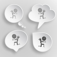 Ethnic little man as shaman. White flat vector buttons on gray b