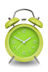 Green alarm clock with the hands at 10 and 2