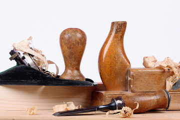 Carpenters tools with wood shavings