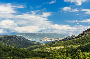 Panoramic view at valley - Island Krk, Croatia