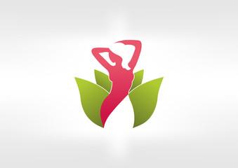 logo lotus woman Nature symbol design