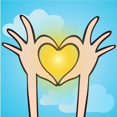 Fingers making shape of heart on the sun