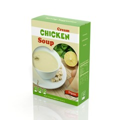 3D chicken soup paper package isolated on white