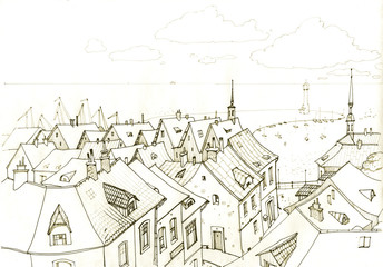 Drawing a small town near the sea