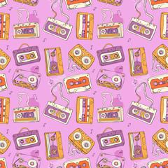 Audio cassette. Seamless pattern.