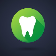Long shadow round icon with a tooth